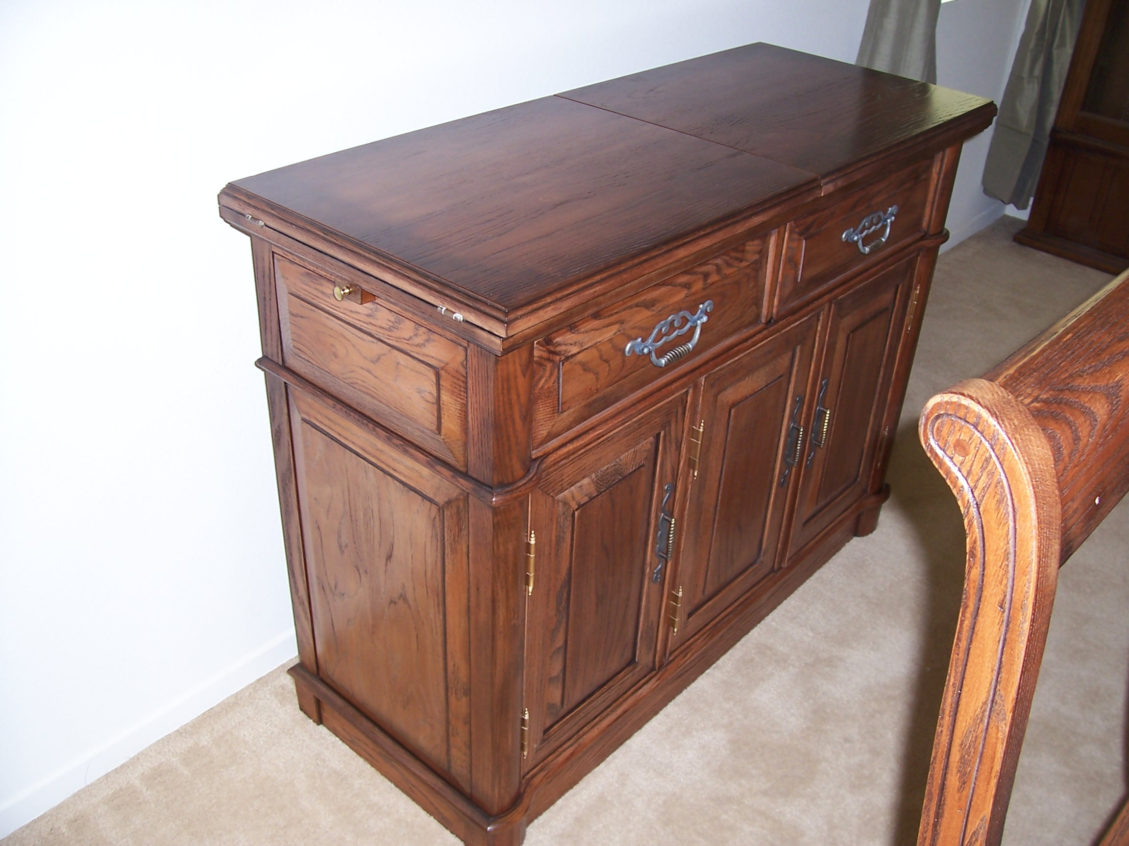 Furniture Refinishing refinishing kitchen table Originally blonde oak this is the serving buffet from a dining set inherited from this young couple s grandparents They made a valiant attempt to refinish