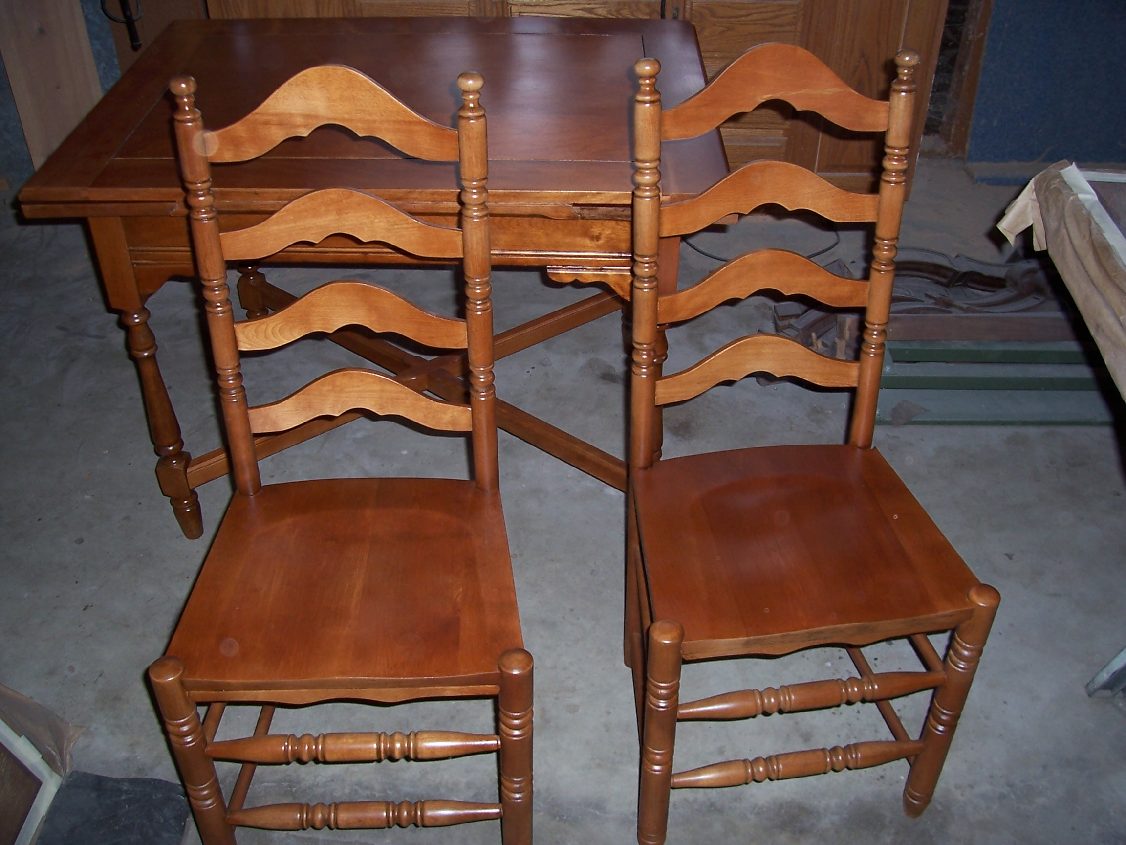 Antique maple table & chairs